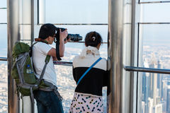 People at the observation deck of Burj al Khalifa Stock Image
