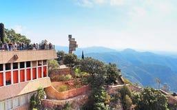People on observation place near Montserrat monastery Royalty Free Stock Photo