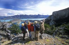 People observing Andean condors in El Calafate, Patagonia, Argentina Stock Images