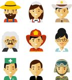 People occupation avatar set in flat style Royalty Free Stock Image