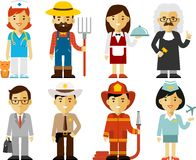 People occupation characters set in flat style. Different people professions characters set Royalty Free Stock Image
