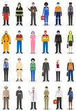 People occupation characters set in flat style isolated on white background. Different men and women professions royalty free stock image