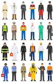 Different people professions occupation characters man set in flat style isolated on white background. Templates for infographic, Stock Photo