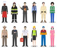 People occupation characters set in flat style isolated on white background. Different men and women professions characters standi. People occupation characters Royalty Free Stock Photography