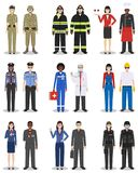 People occupation characters set in flat style isolated on white background. Different men and women professions characters standi. People occupation characters Royalty Free Stock Image
