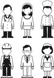 People occupation characters set in thin line Stock Photo