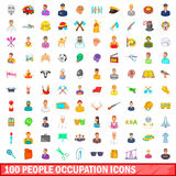 100 people occupation icons set, cartoon style. 100 people occupation icons set in cartoon style for any design vector illustration Royalty Free Stock Images