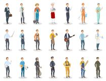 People occupation set. Men with different job Royalty Free Stock Photography
