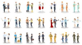 People occupation set. Men and women with different job Royalty Free Stock Images