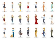 People occupation set. Women with different job Stock Photography