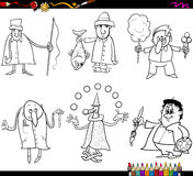 People occupations coloring page. Coloring Book Cartoon Illustration of Funny Professional People Occupations Characters Set vector illustration
