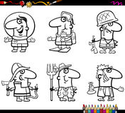 People occupations coloring page. Coloring Book Cartoon Illustration of Professional People Occupations Characters Set Stock Photo