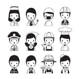 People Occupations Icons Set, Monochrome royalty free illustration
