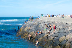 People on an oceans rocky shore Stock Image