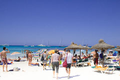 People at the ocean shore of Fuerteventura Stock Images
