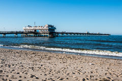 People on Ocean View Beach Fishing Pier Stock Photography