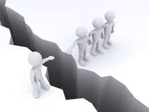 People offer help to another to cross gap Stock Photo