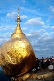 People offerings of gold for Kyaiktiyo Pagoda.Myanmar. Royalty Free Stock Photos