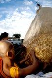 People offerings of gold for Kyaiktiyo Pagoda.Myanmar. Stock Photography