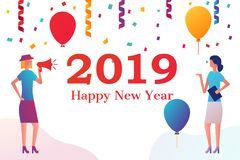 People in the office are celebrating new year. Organization of the corporate. balloons serpentine and confetti, christmas celebrations. Vector illustration royalty free illustration