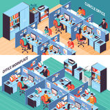 People In Office Cubicles Isometric Banners. Two open space isometric horizontal banners with people working in office cubicles vector illustration Stock Images