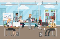 People at office. People at office working and discussing business project Royalty Free Illustration