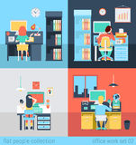People at office workplace or freelance in vector flat concept Royalty Free Stock Photos