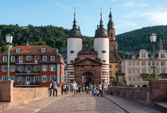 People at the old bridge of Heidelberg in Germany Royalty Free Stock Images