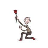 People old man rose love Royalty Free Stock Image