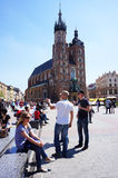 People old square Krakow Royalty Free Stock Image