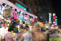 People and old streets at night in Tamsui Royalty Free Stock Photography