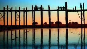 People on the old teak bridge. Burma, Mandalay, sunset