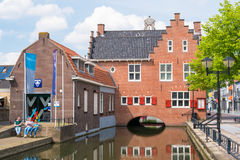 People and old town hall of Oud-Beijerland, Netherlands Stock Photos