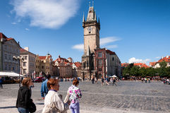 People at the old town square in Prague, Czech Republic Royalty Free Stock Image