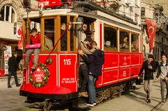 People in an old tram in İstanbul Stock Photos