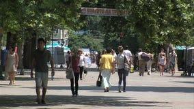 People in the old Varna, Bulgaria stock footage