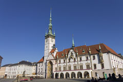 People at Olomouc city's Upper square and the Olomouc Town Hall with the Astronomical clock Royalty Free Stock Images