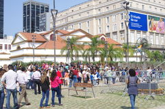 People on Olympic boulevard in Rio de Janeiro Royalty Free Stock Photography
