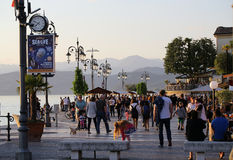 People On Promenade Of Lazise At Garda Lake, Stock Image