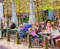 People On Terrace Cafe Royalty Free Stock Images