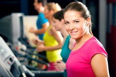 People On Treadmill In Gym Running Royalty Free Stock Photography