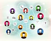 People online background. A group of people connects online through social media and groups to interact Stock Images