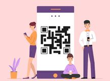 People online on QR smartphone vector illustration vector illustration