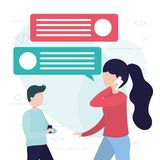 People online related. Woman and man using cellphone online talking vector illustration royalty free illustration