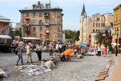 People on an open air flea market Stock Photo