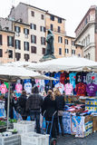 People on open market at Campo de Fiori in Rome Royalty Free Stock Image