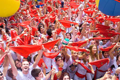 People at opening of San Fermin festival Royalty Free Stock Images