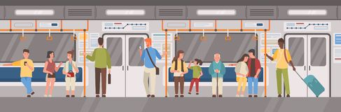 People Or City Dwellers In Metro, Subway, Tube Or Underground Train Car. Men And Women In Public Transport. Male And Stock Image