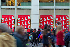 People out shopping in the christmas sales. People out shopping in the post christmas sales Stock Photos