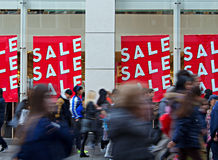 People out shopping in the christmas sales. People out shopping in the post christmas sales Royalty Free Stock Image